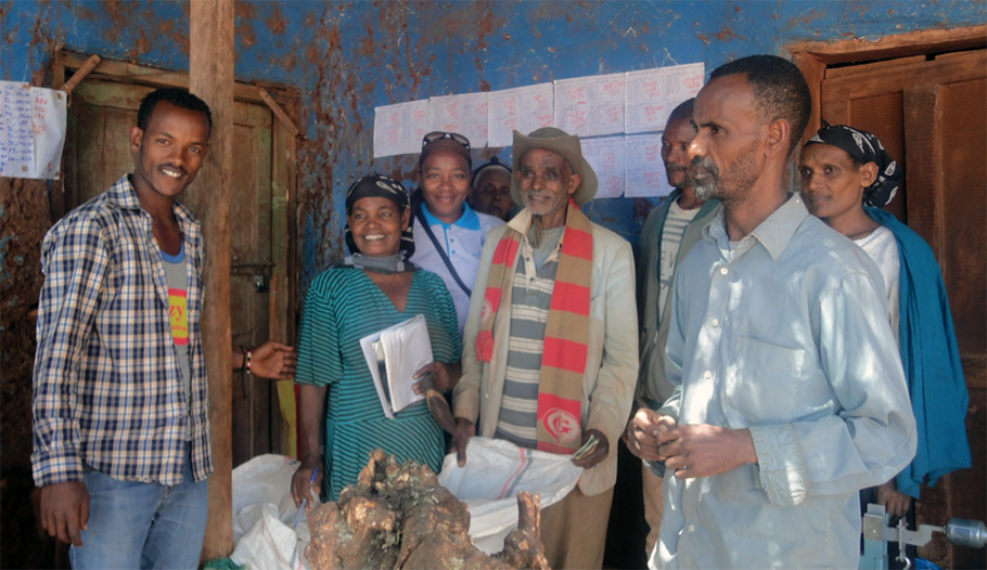 One of the volunteer farmer co-operative committees (the maize buying committee) at work with the support of Nuru Ethiopia staff