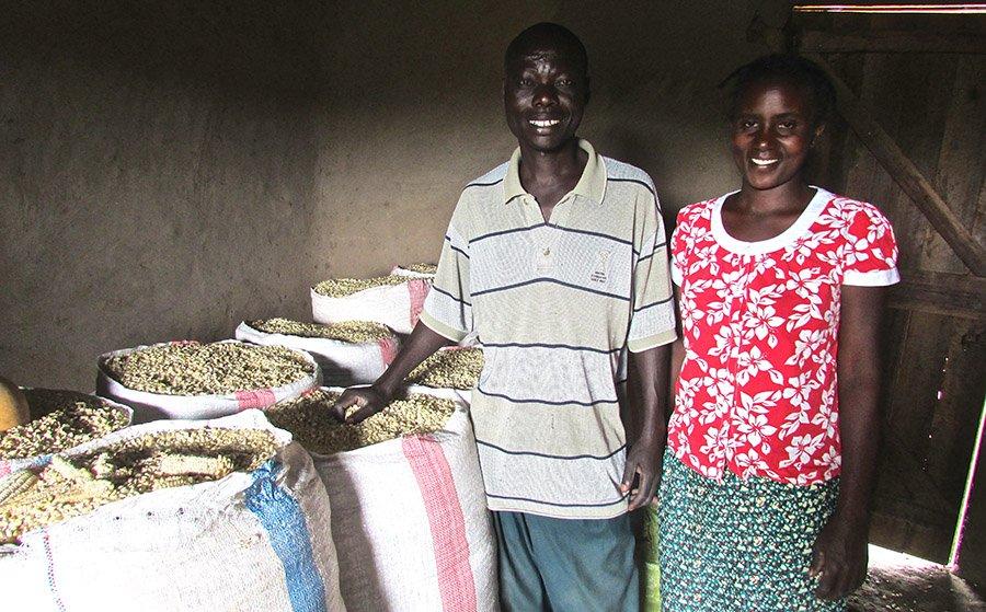 Nuru Kenya farmers display their harvest ahead of bringing it to market