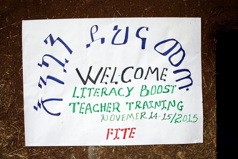 Officials at Fite School created a sign to welcome teachers from Zefine cluster schools.