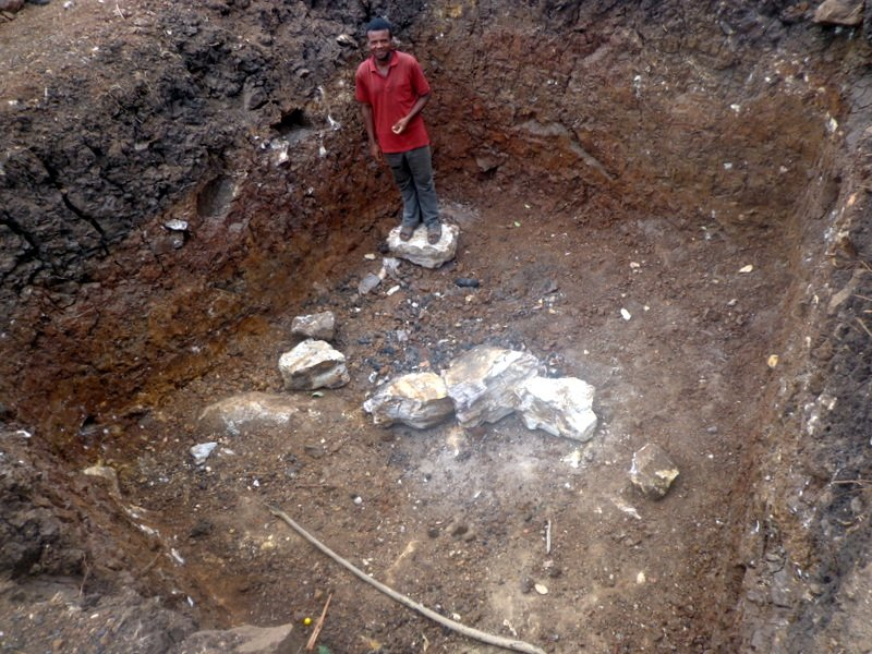 Community member from Zefine Menuka kebele who helped dig pit for latrine