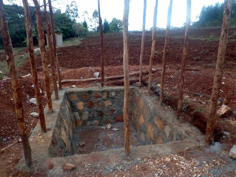 Foundation of pit for latrine complete