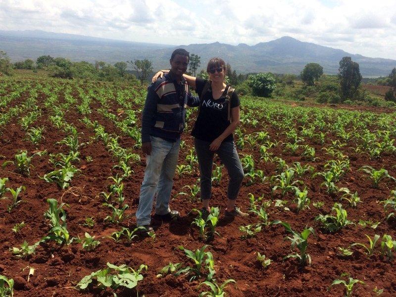 Team Leader Amy Sherwood and Field Officer Behibret Gizachew check up on the progress of Nuru farmer maize crops.
