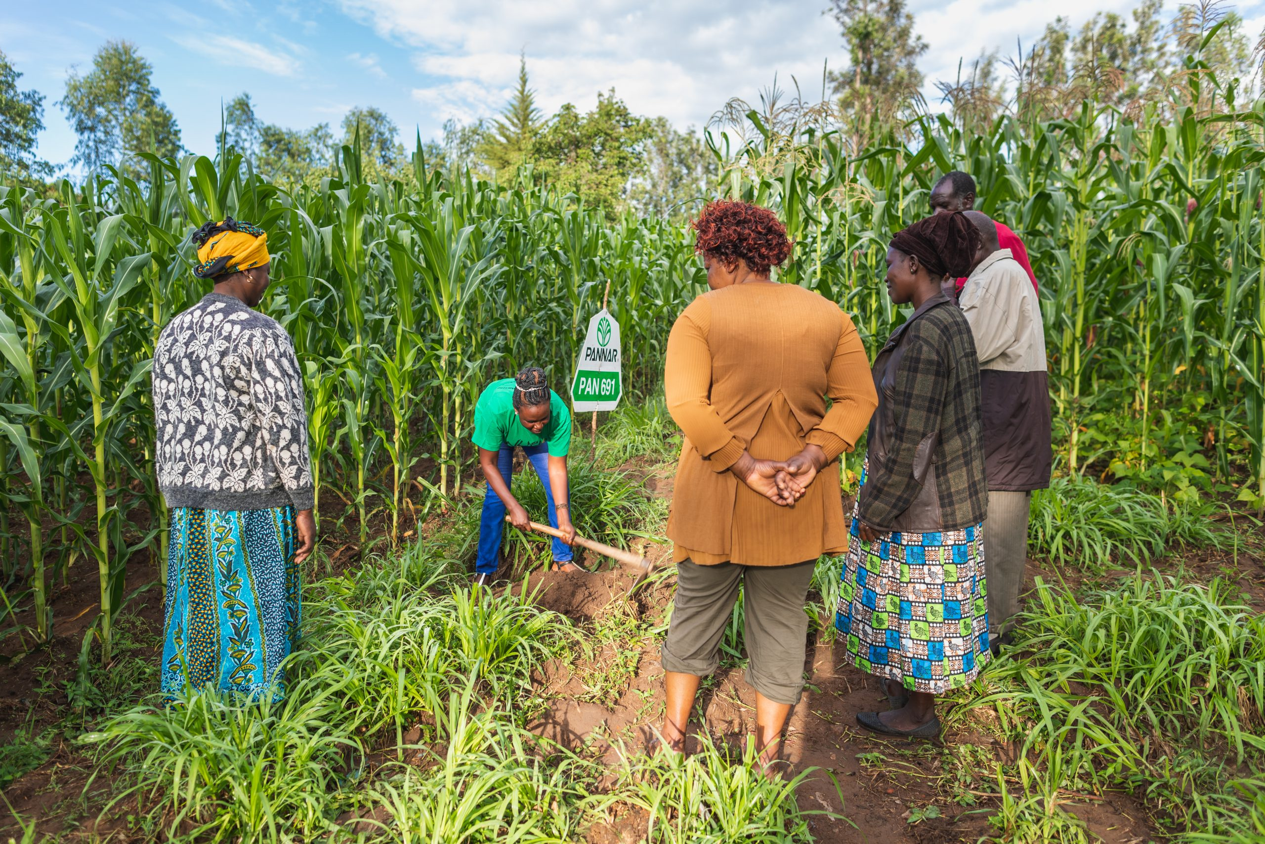 woman leading agriculture training on a farm in Kenya