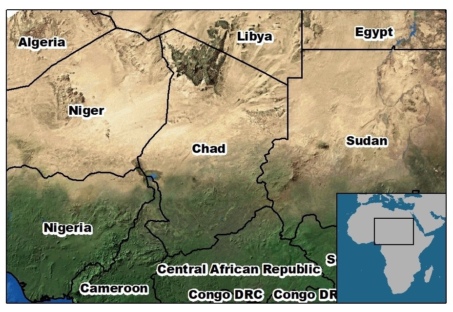 map of Chad and surrounding countries