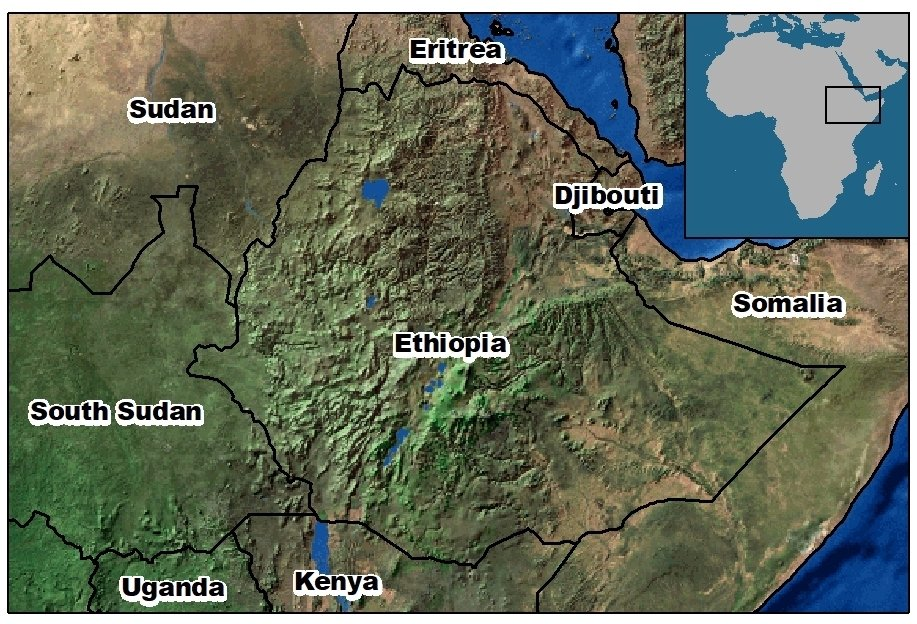 map of Ethiopia and surrounding countries