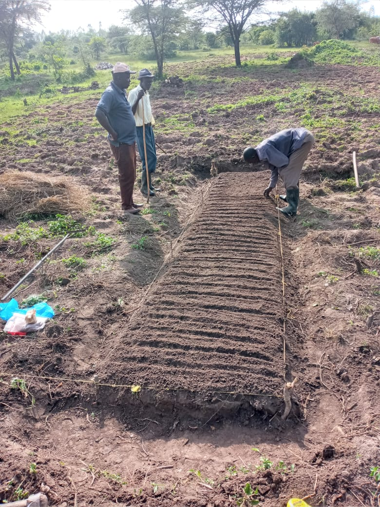 men working in garden in Kenya